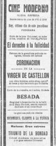 Anunci de la pel·lícula en el diari El pueblo el 7 de maig de 1924